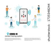 covid 19 contact tracing system ... | Shutterstock .eps vector #1735348244