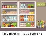 supermarket interior with...   Shutterstock .eps vector #1735389641