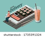 sushi food delivery service... | Shutterstock .eps vector #1735391324