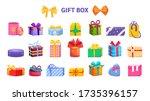 gift box set. present wrapped... | Shutterstock .eps vector #1735396157
