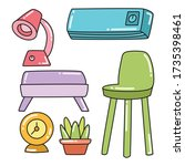 furniture and interior... | Shutterstock .eps vector #1735398461