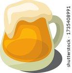 vector mug of beer with foam on ... | Shutterstock .eps vector #1735408991