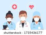 doctors and nurses in medical... | Shutterstock .eps vector #1735436177