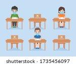 children in new normal life...   Shutterstock .eps vector #1735456097
