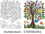 wildflowers. butterfly on a...   Shutterstock .eps vector #1735481501