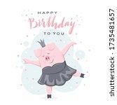 happy birthday on white...   Shutterstock .eps vector #1735481657