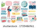 books letterings  reading... | Shutterstock .eps vector #1735486961