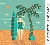 summer poster. beach  palm and... | Shutterstock .eps vector #1735493231