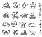 food delivery line icons on... | Shutterstock .eps vector #1735494287