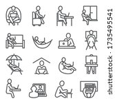 work at home line icons on... | Shutterstock .eps vector #1735495541