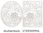set of contour illustrations of ... | Shutterstock .eps vector #1735545941