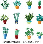set of houseplants cartoon... | Shutterstock .eps vector #1735553444
