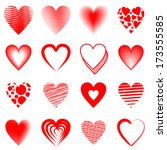 sixteen different red hearts | Shutterstock . vector #173555585