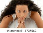 portrait of pretty brunette in... | Shutterstock . vector #1735562