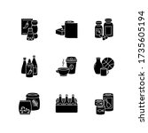 groceries black glyph icons set ...   Shutterstock .eps vector #1735605194
