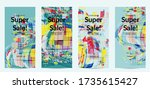 square pixel mosaic distorted... | Shutterstock .eps vector #1735615427