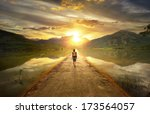 traveler walking along the road ... | Shutterstock . vector #173564057