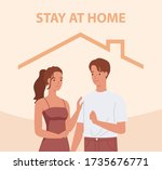 stay home. young couple smiling ... | Shutterstock .eps vector #1735676771