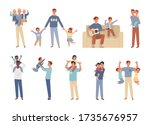 happy father's day. dad  son... | Shutterstock .eps vector #1735676957