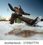 Happy Fisherman On A Lake At...