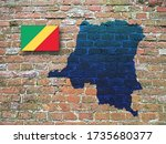 Map and Flag of the Democratic Republic of the Congo, Adopted, September 15, 1959, Adopted on June 10, 1991, brick background, 3D illustration
