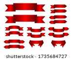 set of red glossy realistic...   Shutterstock .eps vector #1735684727