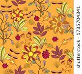 flowers and leaves in yellow...   Shutterstock .eps vector #1735704341