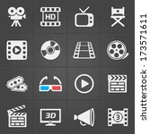 cinema icons on black... | Shutterstock .eps vector #173571611