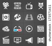 cinema icons on black... | Shutterstock .eps vector #173571611