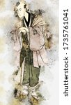 Kabuki Actor With A Watercolor...