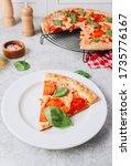 Pepperoni Pizza Slice On Plate...