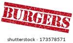 burgers grunge red stamp | Shutterstock . vector #173578571
