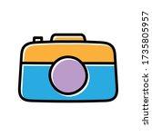 camera hand drawn icon vector...