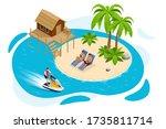 isometric summer vacation... | Shutterstock .eps vector #1735811714