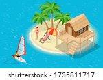 isometric summer vacation... | Shutterstock .eps vector #1735811717