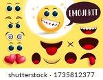 emoji vector create kit. yellow ... | Shutterstock .eps vector #1735812377