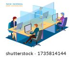 new normal keep distancing...   Shutterstock .eps vector #1735814144