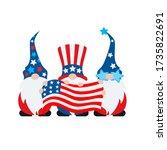 american gnomes holding flag... | Shutterstock .eps vector #1735822691