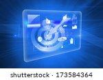 shiny target on blue background ... | Shutterstock . vector #173584364