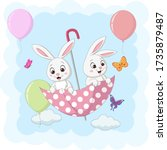cute two bunnies flying with an ...   Shutterstock .eps vector #1735879487