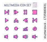 set of multimedia audio color...