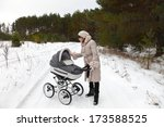 winter walking. the young... | Shutterstock . vector #173588525