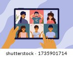 video call of group of people.... | Shutterstock .eps vector #1735901714