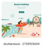 beach holidays vector web... | Shutterstock .eps vector #1735925654