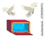 open mystery box with mirror... | Shutterstock .eps vector #1735939571