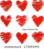 hand painted heart  valentine... | Shutterstock .eps vector #173593991