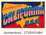 greetings from california usa.... | Shutterstock .eps vector #1735951484