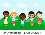 cheerful children of different... | Shutterstock .eps vector #1735992284
