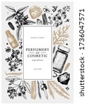 hand drawn perfumery and... | Shutterstock .eps vector #1736047571