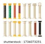 realistic antique pillars set....   Shutterstock .eps vector #1736073251